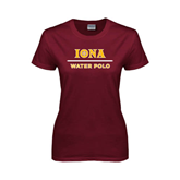 Ladies Maroon T Shirt-Water Polo