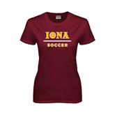 Ladies Maroon T Shirt-Soccer