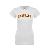 Next Level Ladies SoftStyle Junior Fitted White Tee-Arched Iona College