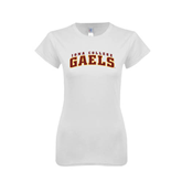 Next Level Ladies SoftStyle Junior Fitted White Tee-Arched Iona College Gaels