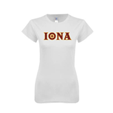 Next Level Ladies SoftStyle Junior Fitted White Tee-Iona Wordmark