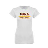Next Level Ladies SoftStyle Junior Fitted White Tee-Baseball