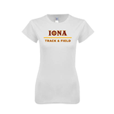 Next Level Ladies SoftStyle Junior Fitted White Tee-Track and Field