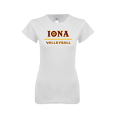 Next Level Ladies SoftStyle Junior Fitted White Tee-Volleyball