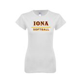 Next Level Ladies SoftStyle Junior Fitted White Tee-Softball