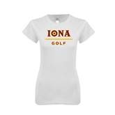 Next Level Ladies SoftStyle Junior Fitted White Tee-Golf