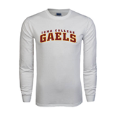 White Long Sleeve T Shirt-Arched Iona College Gaels