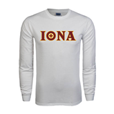 White Long Sleeve T Shirt-Iona Wordmark