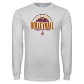 White Long Sleeve T Shirt-2018 MAAC Volleyball Champions