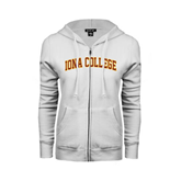 ENZA Ladies White Fleece Full Zip Hoodie-Arched Iona College