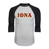 White/Black Raglan Baseball T-Shirt-Iona Wordmark