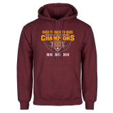 Maroon Fleece Hoodie-Back To Back To Back Basketball Champions