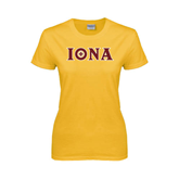 Ladies Gold T Shirt-Iona Wordmark