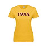 Ladies Gold T Shirt-Iona Wordmark