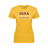 Ladies Gold T Shirt-Lacrosse