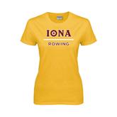 Ladies Gold T Shirt-Rowing