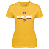 Ladies Gold T Shirt-MAAC Mens Basketball Champs