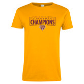 Ladies Gold T Shirt-2018 Mens Basketball Champions - Box