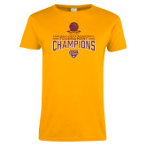 Ladies Gold T Shirt-2018 Mens Basketball Champions - Net w/ Basketball