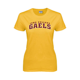 College  Ladies Gold T Shirt-Arched Iona College Gaels