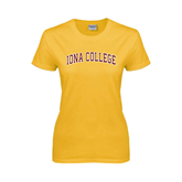 College  Ladies Gold T Shirt-Arched Iona College