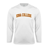 College  Syntrel Performance White Longsleeve Shirt-Official Logo