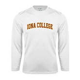 Performance White Longsleeve Shirt-Arched Iona College
