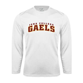 Performance White Longsleeve Shirt-Arched Iona College Gaels