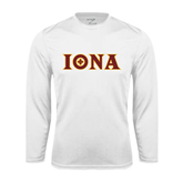 Performance White Longsleeve Shirt-Iona Wordmark