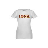 Youth Girls White Fashion Fit T Shirt-Iona Wordmark