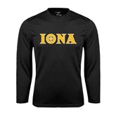 Performance Black Longsleeve Shirt-Iona Wordmark