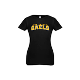 Youth Girls Black Fashion Fit T Shirt-Arched Iona College Gaels