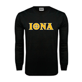 Black Long Sleeve TShirt-Iona Wordmark
