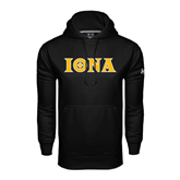 Under Armour Black Performance Sweats Team Hood-Iona Wordmark