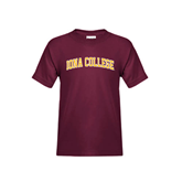 Youth Maroon T Shirt-Arched Iona College