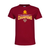 Youth Maroon T Shirt-2018 Mens Basketball Champions - Net w/ Basketball