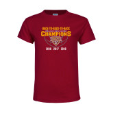 Youth Maroon T Shirt-Back To Back To Back Basketball Champions