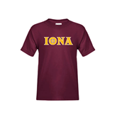 Youth Maroon T Shirt-Iona Wordmark
