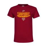 Youth Maroon T Shirt-2018 Mens Basketball Champions - Brush