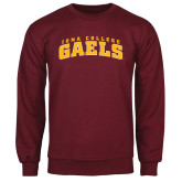 Maroon Fleece Crew-Arched Iona College Gaels