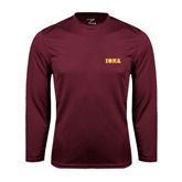 Performance Maroon Longsleeve Shirt-Iona Wordmark
