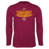 Performance Maroon Longsleeve Shirt-2018 Mens Basketball Champions - Brush
