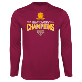 Performance Maroon Longsleeve Shirt-2018 Mens Basketball Champions - Net w/ Basketball