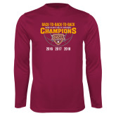 Performance Maroon Longsleeve Shirt-Back To Back To Back Basketball Champions