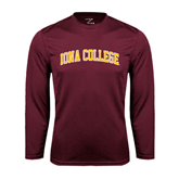 Performance Maroon Longsleeve Shirt-Arched Iona College