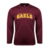 Performance Maroon Longsleeve Shirt-Arched Iona College Gaels