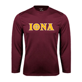 Syntrel Performance Maroon Longsleeve Shirt-Iona Wordmark