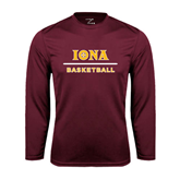 Syntrel Performance Maroon Longsleeve Shirt-Basketball