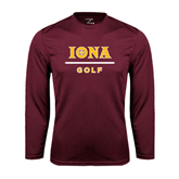 Performance Maroon Longsleeve Shirt-Golf