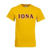 Gold T Shirt-Iona Wordmark